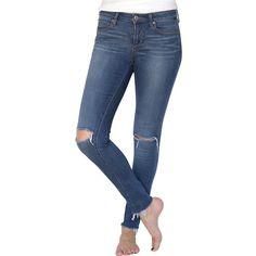 Sarah 'Rodeo' Distressed Raw Hem Skinny Jeans