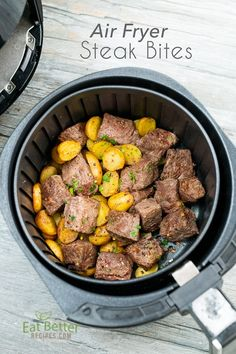 Easy Recipe for steak bites in the air fryer! this is the best air fried steak bites recipe in the air fryer that's juicy and keto, paleo air fryer Air Fryer Recipes Wings, Air Fryer Oven Recipes, Air Fryer Dinner Recipes, Air Fry Recipes, Steak Recipes, Healthy Recipes, Easy Recipes, Air Fryer Chicken Recipes, Delicious Recipes