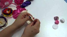 DIY flores de cinta o liston  para el cabello - tutorial paso a paso flo...