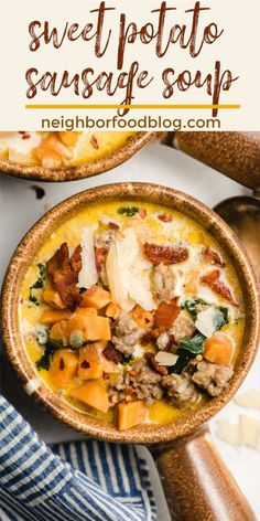 This Creamy Sausage and Sweet Potato Soup is such a comforting soup recipe for cold nights. This one pot meal is so flavorful and filled with nutritious, filling veggies! Best Soup Recipes, Chowder Recipes, Fun Easy Recipes, Healthy Soup Recipes, Real Food Recipes, Potato Recipes, Lunch Recipes, Fall Recipes, Healthy Meals