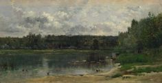River Scene with Ducks Charles-François Daubigny 1859