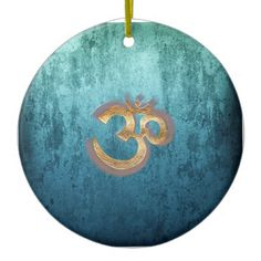 OM blue brass gold damask Asia Yoga Spiritualität Ceramic Ornament