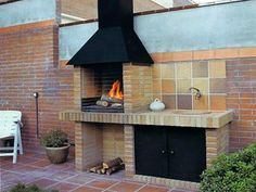 Amazing Outdoor Patio Barbecue Grill Ideas: Do you think that having a piece of BBQ stand in your house garden will bring a source of thrilling entertainment in the nightlife gatherings. Outdoor Bbq Kitchen, Outdoor Barbeque, Outdoor Kitchen Design, Design Barbecue, Grill Design, Barbecue Garden, Barbecue Grill, Barbacoa Jardin, Parrilla Exterior