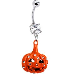 Clear Cubic Zirconia Orange Pumpkin Belly Ring #bodycandy #bellyring #halloween $9.99