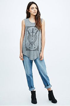 Truly Madly Deeply Tarot Shirttail Tank in Grey