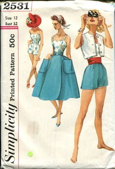 50s Bustier Fitted Shorts Sewing Pattern by retromonkeys on Etsy, $48.00