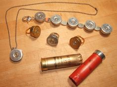 """Shotgun Shell Jewelry. Today we went out shooting and the spot we were at was littered with shells. I thought to myself """"It would be GREAT to think of an art project for all this litter!"""" and, this is one thing I've found. Mark just asked me to make him a necklace! I'm excited to try."""
