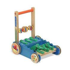 Push Toy Alligator Wood Educational Sturdy Chomp Clack Pretend Mower Handcrafted