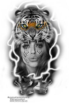 Individual design tattoo flash Tattoo artist Yavtushenko Dmitry Booking send me to email d.yavtushenko@gmail.com #tattoo #tattooconvention #worldtattoo #freedesignflash #yavtushenkodmitriy #tddnipro #ukrainetattooartist #tattoodnipro #travelingartist #ukrainiantattooartist #artistyavtushenko Tiger Tattoo Design, Tattoo Designs, Tattoo Artwork, Tattoo Drawings, Full Arm Tattoos, Sleeve Tattoos, Animal Heads, My Animal, Girl Face Tattoo