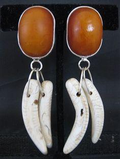 80ecd1048 African Amber with a Bone Dangle Earring. Dangle Earrings, Amber, Dangles,  Ivy