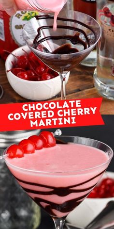 This Chocolate Covered Cherry Martini is dessert in a glass! So delicious and makes for an elegent drink. Cherry Martini Recipe, Cherry Drink, Martini Recipes, Cocktail Recipes, Drink Recipes, Dessert Recipes, Chocolate Covered Cherries, Chocolate Cherry, Chocolate Flavors