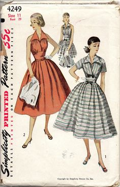Simplicity 1232 1950s Misses Halter Sun Dress and Bolero womens vinage sewing pattern by mbchills