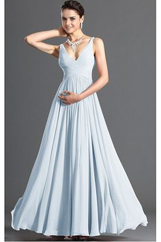 Chiffon Zipper Deep V-neck A-line Bridesmaid Dresses