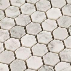 $10.95 Carrara (Carrera) Hexagon Marble Mosaic Tile - Free Shipping from www.thebuilderdepot.com - powder room floor