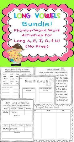 TONS of long vowel word work activities for long a, e, i, o, u! Makes learning the many long vowel patterns easy and fun! NO PREP. Print and go! $