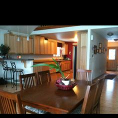 My own dining room and kitchen.