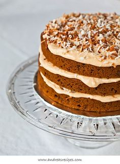 Spiced Pumpkin Layer Cake with Dulce de Leche Cream Cheese Frosting and Toasted Coconut