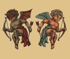 Good and evil Angel Tattoo www. And - # evil . - Good and evil Angel Tattoo www. Cupid Tattoo, Cherub Tattoo, Hawaiianisches Tattoo, Tattoo Drawings, Tattoo Style, Tattoos Motive, Body Art Tattoos, Sleeve Tattoos, Evil Angel