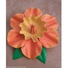 Gorgeous Vintage Flower Power Dimensional Brooch Orange