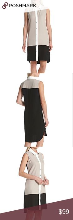 30% OFF BUNDLES - Black/Khaki/White Shirt Dress Create a sleek style perfect for an afternoon at the office or an evening out with this color blocked dress from Calvin Klein. MSRP is $138.00. Featured in multi  Point collar  Sleeveless  Button front closure  Color blocked design  Dry clean  Polyester Calvin Klein Dresses