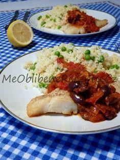 Filet z halibuta s rajčatovou salsou a hráškovým kuskusem Halibut, Beef, Chicken, Food, Meat, Essen, Meals, Yemek, Eten