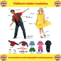 Pictures of children's clothing learning English vocabulary