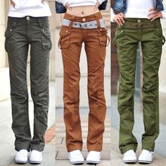 Details about Ladies Womens Military Army Green Jeans Cargo Combat ...
