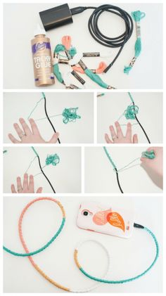 DIY Wrapped Charger Cord - Fancy Up Your Phone! - Dwell Beautiful - DIY Wrapped Phone Charger Cord – pretty up your boring phone charger in minutes with this easy cr - Cute Crafts, Easy Crafts, Diy And Crafts, Easy Diy, Diy Headphones, Wrapped Headphones, Fancy, Phone Charger, Bracelet Patterns