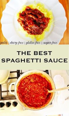 the best spaghetti sauce - paleo, dairy-free, gluten-free, sugar-free Gluten Free Spaghetti Sauce, Sugar Free Pasta Sauce, Best Spaghetti Sauce, Paleo Dairy, Dairy Free, Gluten Free Recipes, Healthy Recipes, Gluten Free Sauces, Paleo Sauces