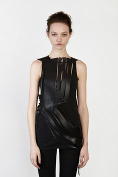 No Editions Laser Cut Leather, Cotton and Satin Top