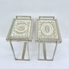 Pair of shelled tables