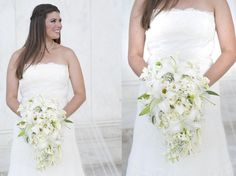 Cascade Bridal Bouquet in all white Sweet Tea Photography-DC Wedding Photography