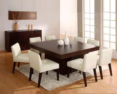 Square Dining Tables Ideas For Your Modern Dining Room. Wooden Dining Table Modern, Square Dining Room Table, Dining Room Walls, Dining Room Design, Dining Room Furniture, Wooden Tables, Living Room, Dining Chairs, Furniture Layout