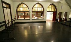 beautiful dance studio with windows