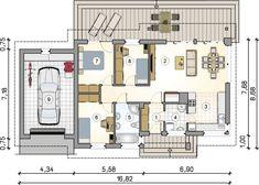 Roberto II SZ. Parterowy dom w szkielecie drewnianym z garażem. Studio Atrium Small Tiny House, Tiny Houses, Atrium, Industrial Style, My House, House Plans, Floor Plans, How To Plan, Studio