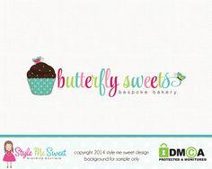 Premade Logo Design - Cupcake Bakery Logo Design Small Business Logo Hand Drawn