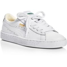 Puma Women's Basket Classic Lace Up Sneakers ($70) ❤ liked on Polyvore featuring shoes, sneakers, flats, white, white trainers, lace up flat shoes, white shoes, white flats and flat shoes
