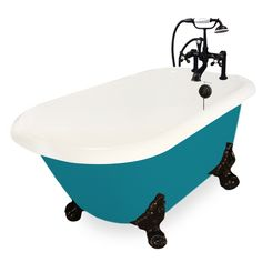Beautiful Jester AcraStone Clawfoot Tub smooth to the touch inside and out. Perfected the traditional clawfoot bathtub with detail and devotion. AcraStone material is extremely durable, backed by a limited lifetime warranty. This Traditional Jester Cla Claw Foot Bath, Metal Tub, Small Tub, Color Shapes, Metal Finishes, Clawfoot Bathtub, Old World, Color Splash, Faucet
