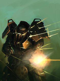 Fallout M-8 Power Armor, Mikael Kihlstrand on ArtStation at https://www.artstation.com/artwork/AYG3V