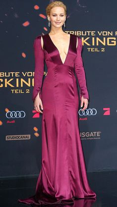 Jennifer Lawrence in a plunging purple Dior Haute Couture dress at the Hunger Games premiere in Berlin