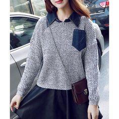 Stylish Turn-Down Collar Long Sleeve Spliced Loose-Fitting Women's Sweater