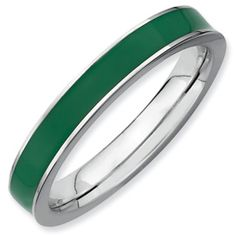 Stackable Expressions Sterling Silver Green Enameled 3.25mm Ring. Available in sizes 5-6-7-8-9-10. Also in colors red, blue, black, purple, orange, yellow, pink, and brown. Sale Price $25.
