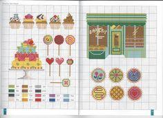 point de croix grille et couleurs de fils sucettes et gateaux