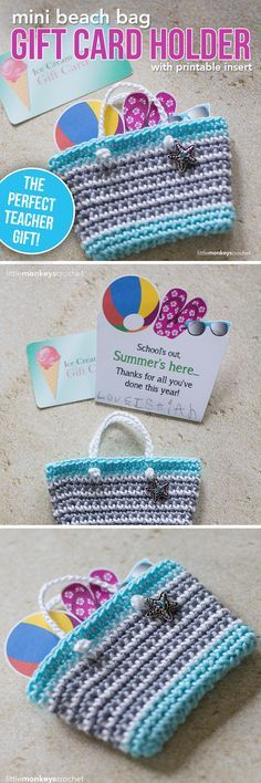 Mini Beach Bag Gift Card Holder Crochet Pattern | Little Monkeys Crochet | teacher gift | end of the school year | teacher crochet gift | 24/7 cotton yarn