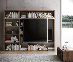 Bibliothèque meuble TV avec cache écran