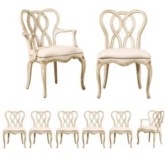 Set of Eight Venetian Style Painted Wood Chairs | From a unique collection of antique and modern dining room chairs at https://www.1stdibs.com/furniture/seating/dining-room-chairs/