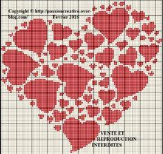 Grille gratuite point de croix : Coeur coeur coeur rouge