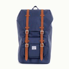 """FATHER""""S DAY GIFT IDEA: Herschel will keep you well equipped and looking sharp with the Herschel Supply Co. Little America canvas backpack in Navy. This beauty has everything you need for any situation, including a zipped front storage pocket.."""