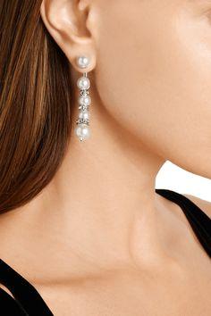 12ebef5eeb53 Oscar de la RentaSilver-plated faux pearl and crystal earrings Oscar De La  Renta
