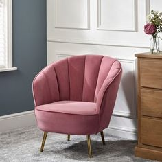 Pink, velvet and affordable, what's not to love about this stunning chair! A perfect accent piece in any room The Range chair in question is a fabulous find Bedroom Chairs Uk, Living Room Chairs, Living Room Decor, Living Area, Living Rooms, Pink Accent Chair, Accent Chairs, Pink Velvet Chair, Velvet Chairs